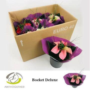 Deluxe Boeket 5 bloem Paarse Hoes